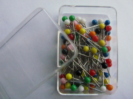 Pins with colorful head 0,60 x 32mm Color mix 40 Pcs.