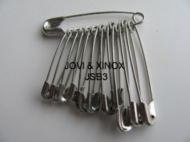 Safety pins bundled 28,32,38mm SILVER, 12pcs