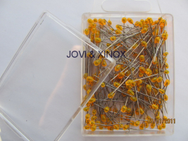 Stainless steel pins 0.59 x31mm PEARL LIGHT ORANGE 200pcs