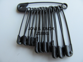 Safety pins bundled 28,32,38mm BLACK, 12pcs
