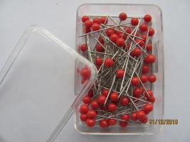 Pins with plastic heads 0,60 x 32mm RED 40pcs
