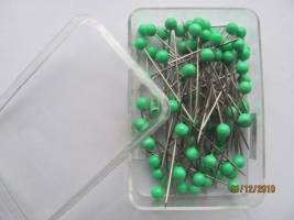 Pins with plastic heads 0,60 x 32mm GREEN 40pcs